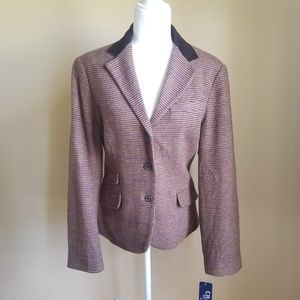 NWT CHAPS Wool Houndstooth Riding Jacket